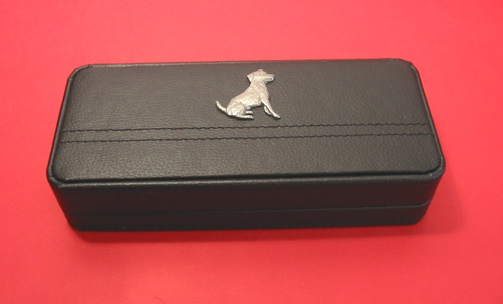 Jack Russell Terrier On Black Faux Leather Pen Box With 2