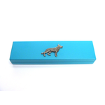 German Shepherd Motif on Turquoise Wooden Pen Box with 2 Pens