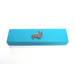 Corgi Dog Motif on Turquoise Wooden Pen Box with 2 Pens