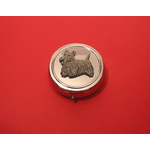 Scottish Terrier Pewter Motif On Round Chrome Mint / Pill Box