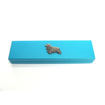 Cocker Spaniel Motif on Turquoise Wooden Pen Box with 2 Pens