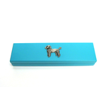 Poodle Motif on Turquoise Wooden Pen Box with 2 Pens