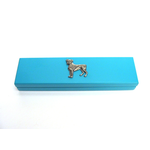 Boxer Dog Motif on Turquoise Wooden Pen Box with 2 Pens