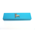 French Bulldog Motif on Turquoise Wooden Pen Box with 2 Pens