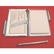 Papillon Chrome Notebook & Pen Card Holder