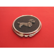 Dandie Dinmont on Black Round Compact Mirror