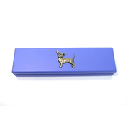 Violet Wooden Pen Box with Pens