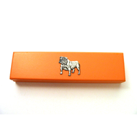 English Bulldog Motif on Apricot Wooden Pen Box with 2 Pen