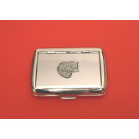 Long Haired Cat Motif on Polished Stainless Steel Tobacco Tin