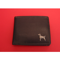 Jack Russell Design Real Leather Dark Brown Wallet Gents Gift