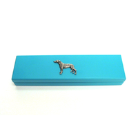Greyhound Motif on Turquoise Wooden Pen Box with 2 Pens