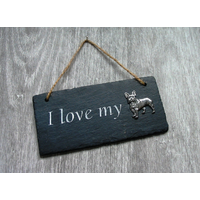 French Bulldog Design Slate Plaque Valentine Christmas Gift