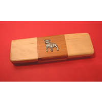 Staffordshire Bull Terrier on Wooden Pen Box with 2 Pens