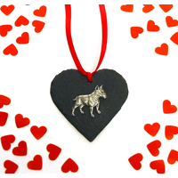 English Bull Terrier Dog Design Slate Heart Valentine Christmas