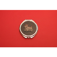 Scottish Terrier on Black Round Compact Mirror Useful Gift