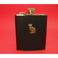 Short Haired Cat 6oz Black Leather Hip Flask Cat Gift