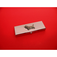 Basset Hound Pewter Motif on Seven Day Pill Box Gift