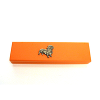 Dachshund Dog Motif on Apricot Wooden Pen Box with 2 Pens