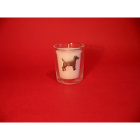 Patterdale Terrier Motif On Glass Votive Candle Holder Xmas Gift