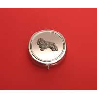 King Charles Pewter Motif On Round Chrome Mint / Pill Box