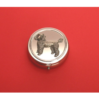 Poodle Pewter Motif On Round Chrome Mint / Pill Box