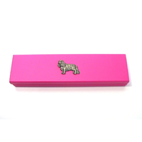 King Charles Spaniel on Pink Wooden Pen Box with 2 Pens