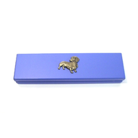 Dachshund Dog Motif on Violet Blue Wooden Pen Box with 2 Pens