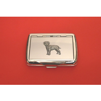 Border Terrier Motif on Polished Stainless Steel Tobacco Tin