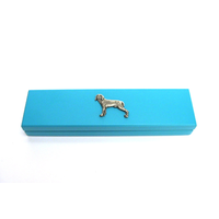 Weimaraner Dog Motif on Turquoise Wooden Pen Box with 2 Pens