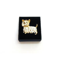 West Highland Terrier Brooch Gold Plated With White Enamel