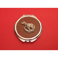 Dinosaur on Brown Round Compact Mirror Useful Gift