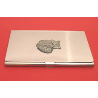 Long Haired Cat Chrome Plated Business or Credit Card Holder