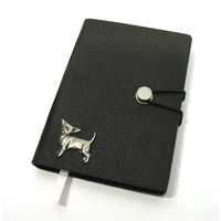Chihuahua Dog A6 Black Journal Notebook Dog Gift