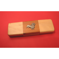 Dachshund on Wooden Pen Box with 2 Pens
