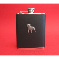 Staffordshire Bull Terrier Dog 6oz Black Leather Hip Flask