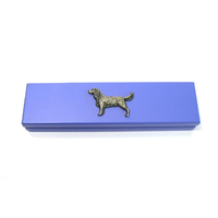 Springer Spaniel Motif on Violet Blue Wooden Pen Box with 2 Pens