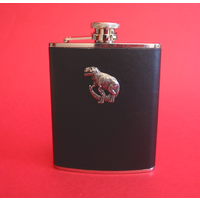 Dinosaur 6oz Black Leather Hip Flask Dinosaur Gift