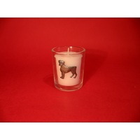 Boxer Dog Motif On Glass Votive Candle Holder Xmas Gift