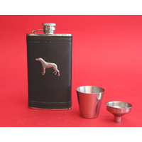 Greyhound Pewter Motif on Black 4oz Hip Flask Gift Set