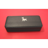 West Highland Terrier Motif on Black Faux Leather Pen Box With 2