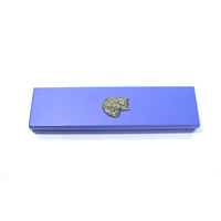 Long Haired Cat Motif on Violet Blue Wooden Pen Box with 2 Pens