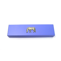 Grazing Pony Motif on Violet Blue Wooden Pen Box with 2 Pens
