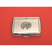 Pomeranian Dog Motif on Polished Stainless Steel Tobacco Tin