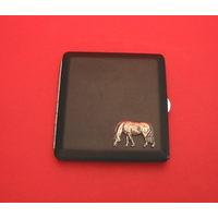 Grazing Pony Motif on Black Faux Leather Cigarette Case