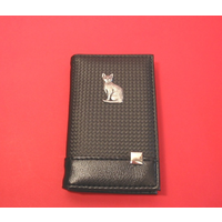 Short Hair Cat on Faux Carbon Fibre Black Note book & Pen