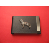 Golden Retriever Pewter Motif on Black Card Holder Dog
