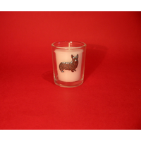 Corgi Dog Motif On Glass Votive Candle Holder Xmas Gift