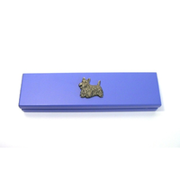 Scottish Terrier Motif on Violet Blue Wooden Pen Box with 2 Pens