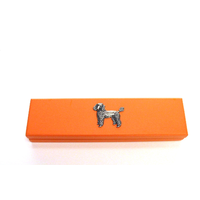Poodle Dog Motif on Apricot Wooden Pen Box with 2 Pens
