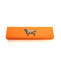 Springer Spaniel Motif on Apricot Wooden Pen Box with 2 Pens